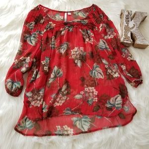 LC LAUREN CONRAD Red Floral Blouse Women's sz XL
